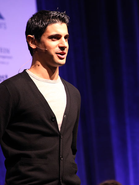 Alexander Mimran on stage launching Minbox