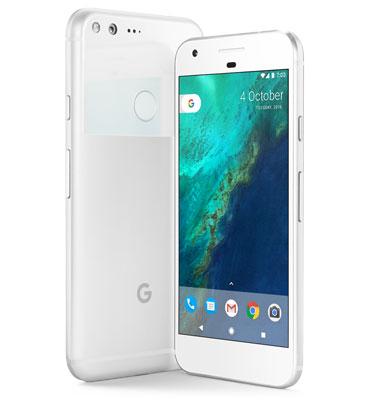 Google Pixel XL facing away, and Google Pixel facing toward