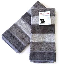 Grey striped KitchenAid hand towels.