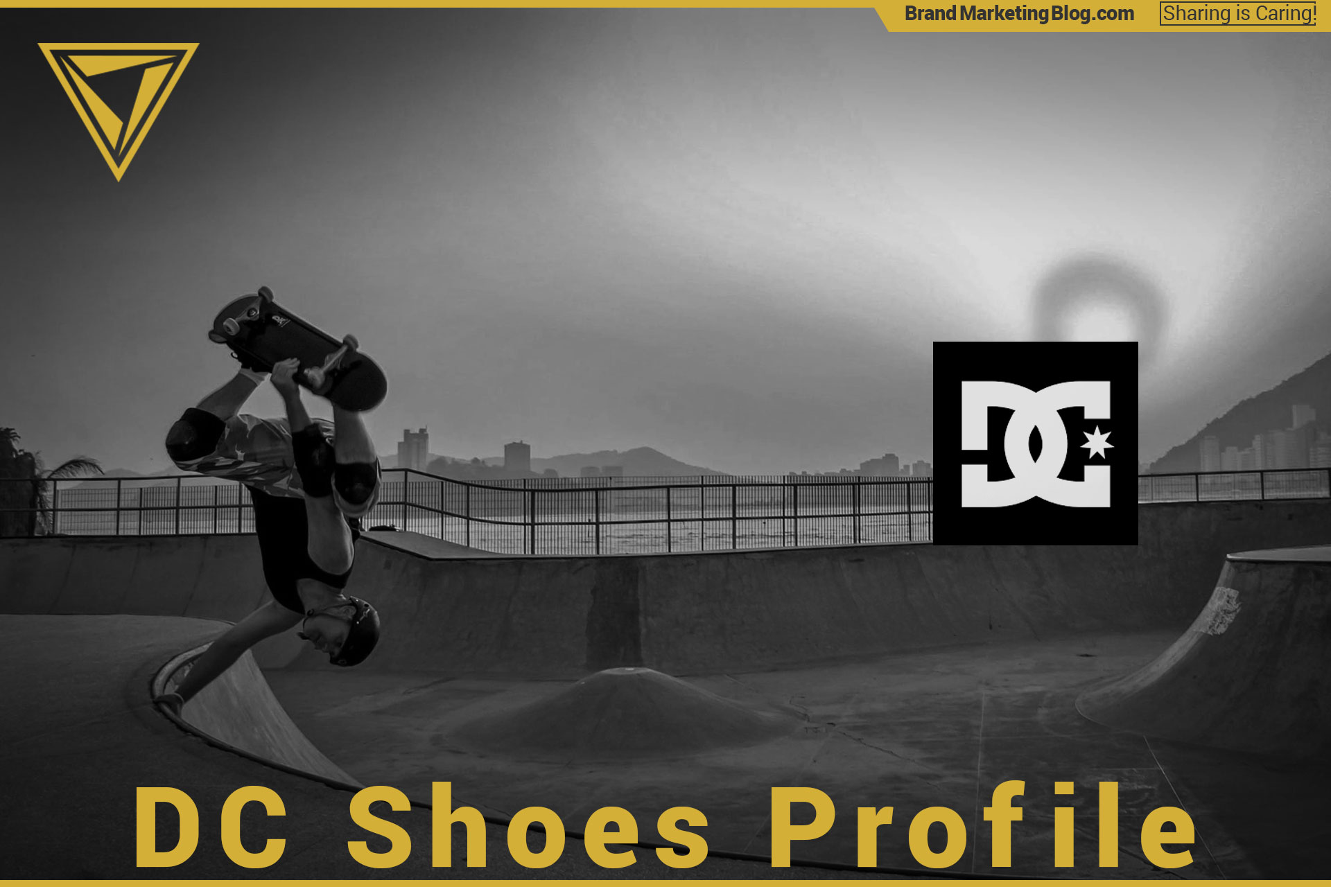 DC Shoes Brand Profile. A man skateboarding doing an inversion trick at sunset in a skate park.