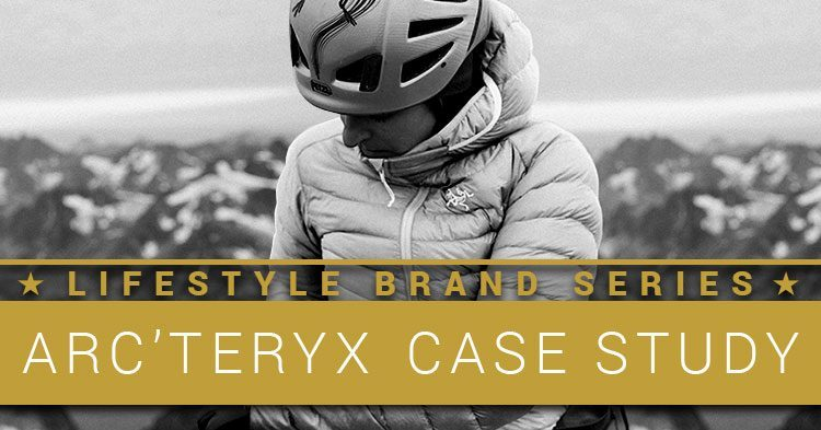 Lifestyle Brand Series. Arc'teryx Case Study. Woman in an Arc'teryx brand jacket at the top of a mountain she has climbed.