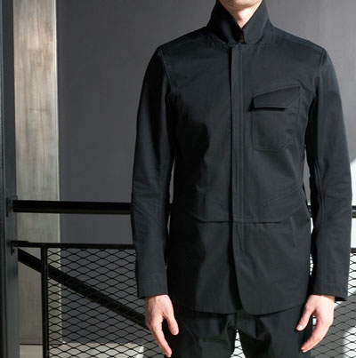 Man wearing an Arc'teryx Veilance brand jacket
