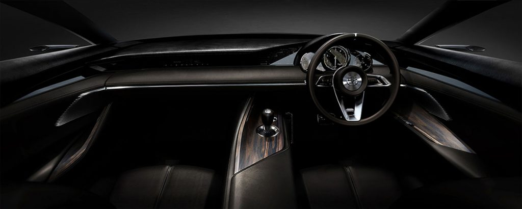Mazda Vision Coupe interior design with wood panels.