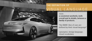 """Image of the BMW i concept car besider interesting architecture. The definition of Visual Language. noun. a consistent aesthetic, both overall and in details, between a family of products. """"the BMW i line of cars are defined by their visual language"""" synonyms: design language, visual vocabulary."""