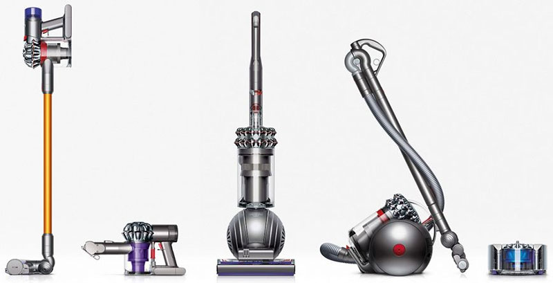 The line of Dyson vacuum cleaners