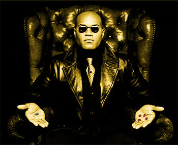 Morpheus in gold offering the Red Pill or the Blue Pill.