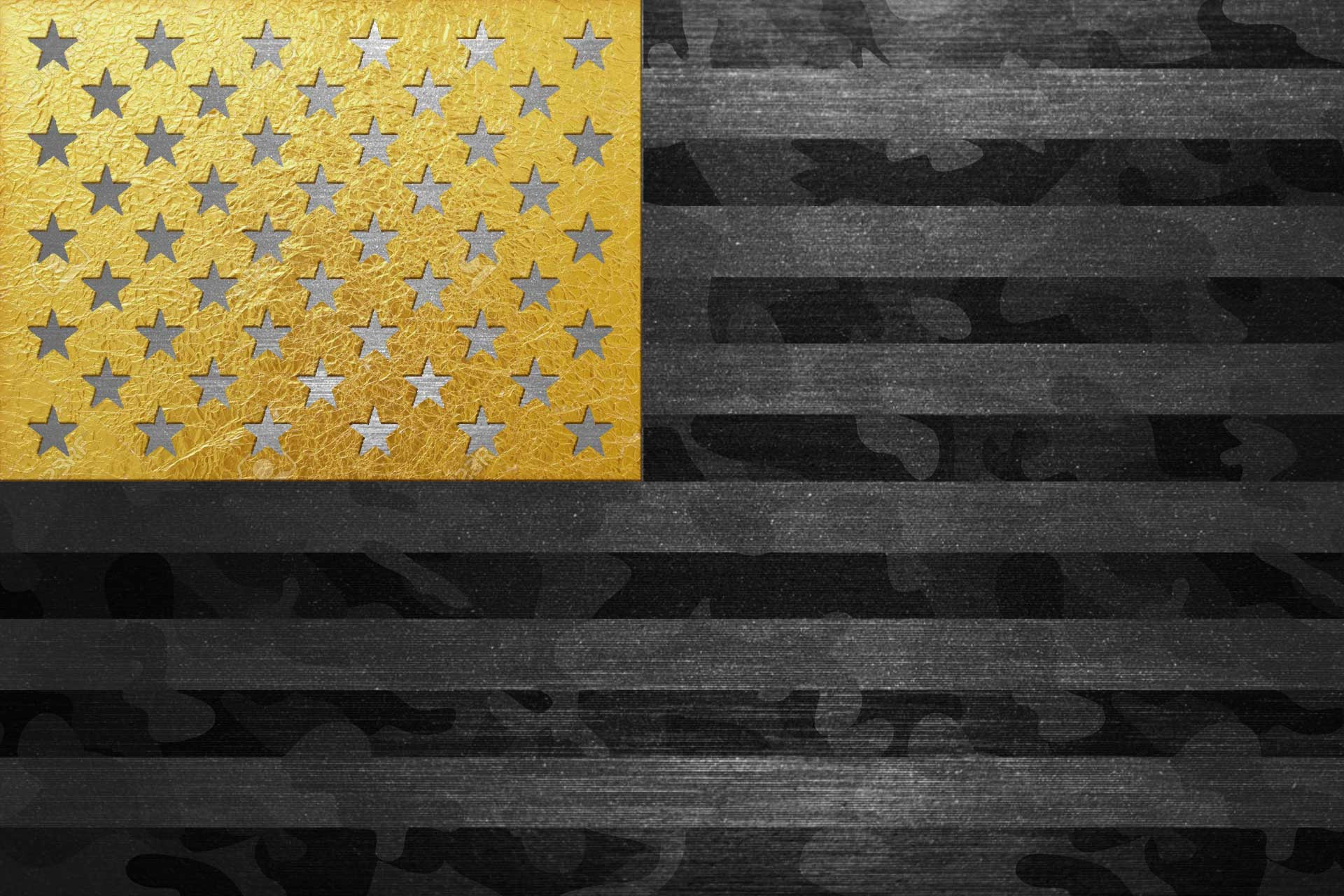 American flag on gunmetal grey with gold stars and black camo.