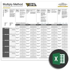 Multiply Method excel spreadsheet. Excel icon. Creative business name generator.