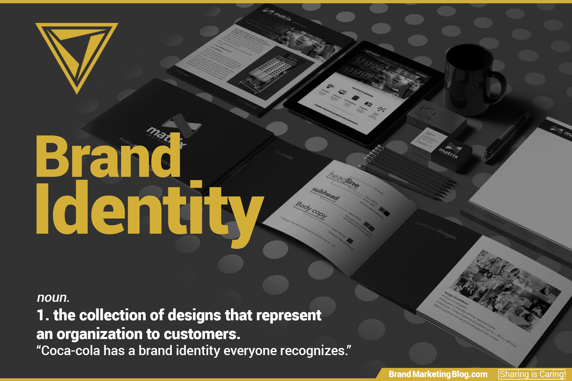 "Brand Identity definition. noun. 1. the collection of designs that represent an organization to customers. ""Coca-cola has a brand identity everyone recognizes."""