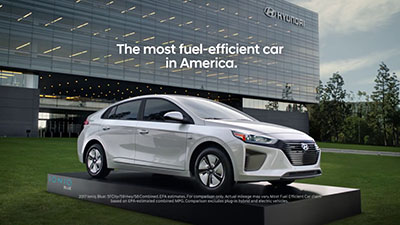 An advertisement for the Hyundai Ioniq hybrid. The most fuel efficient car in America.