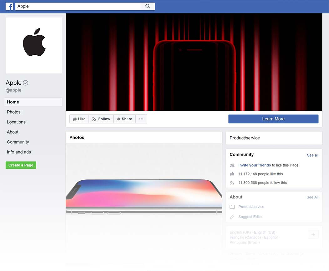 Apple Facebook Page design, Summer 2018