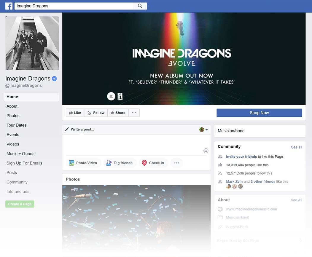 Imagine Dragons Facebook Page design, Summer 2018