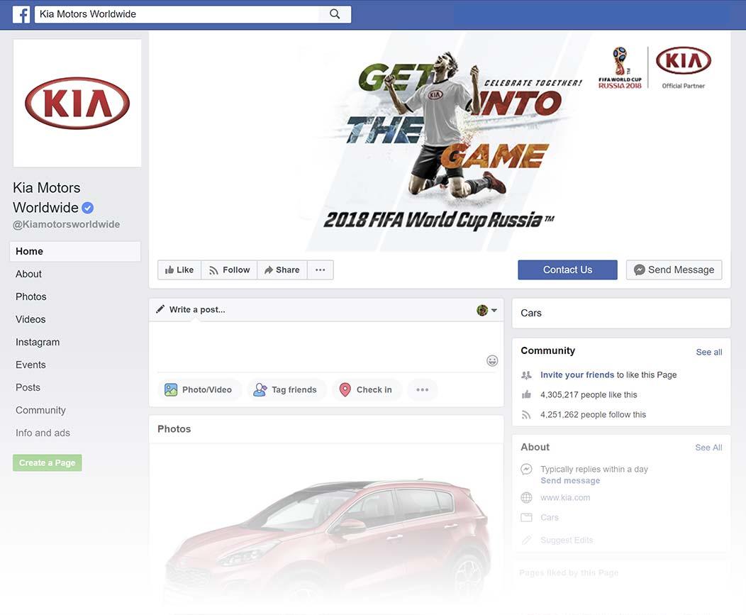 Kia Facebook Page design, Summer 2018
