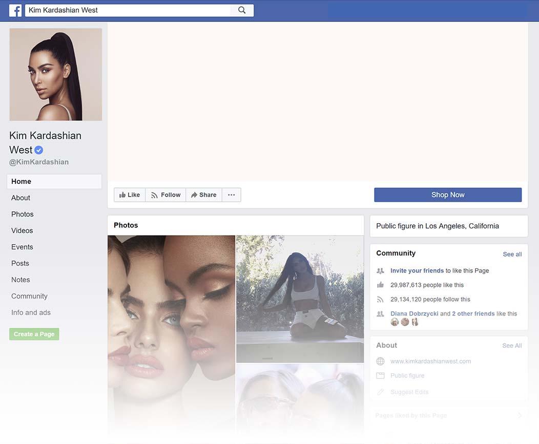 Kim Kardashian West Facebook Page design, Summer 2018