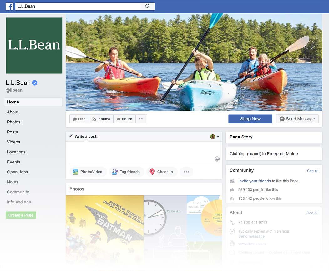 LL Bean Facebook Page design, Summer 2018