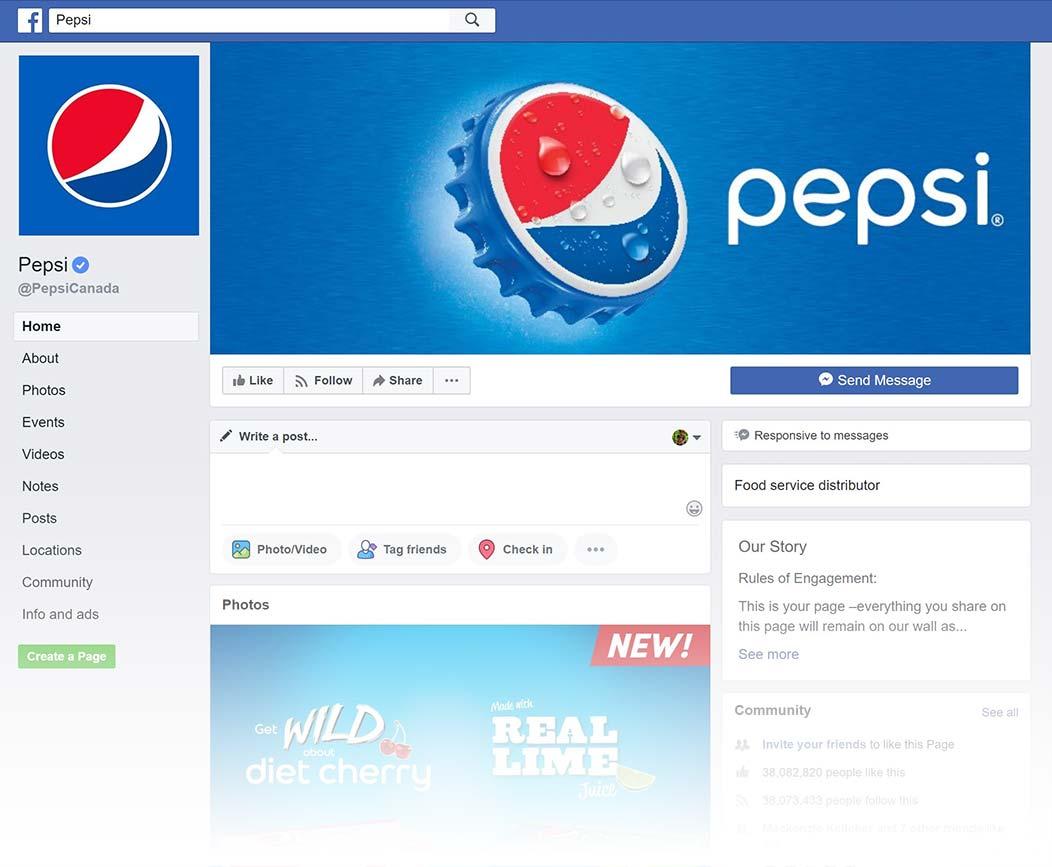 Pepsi Facebook Page design, Summer 2018