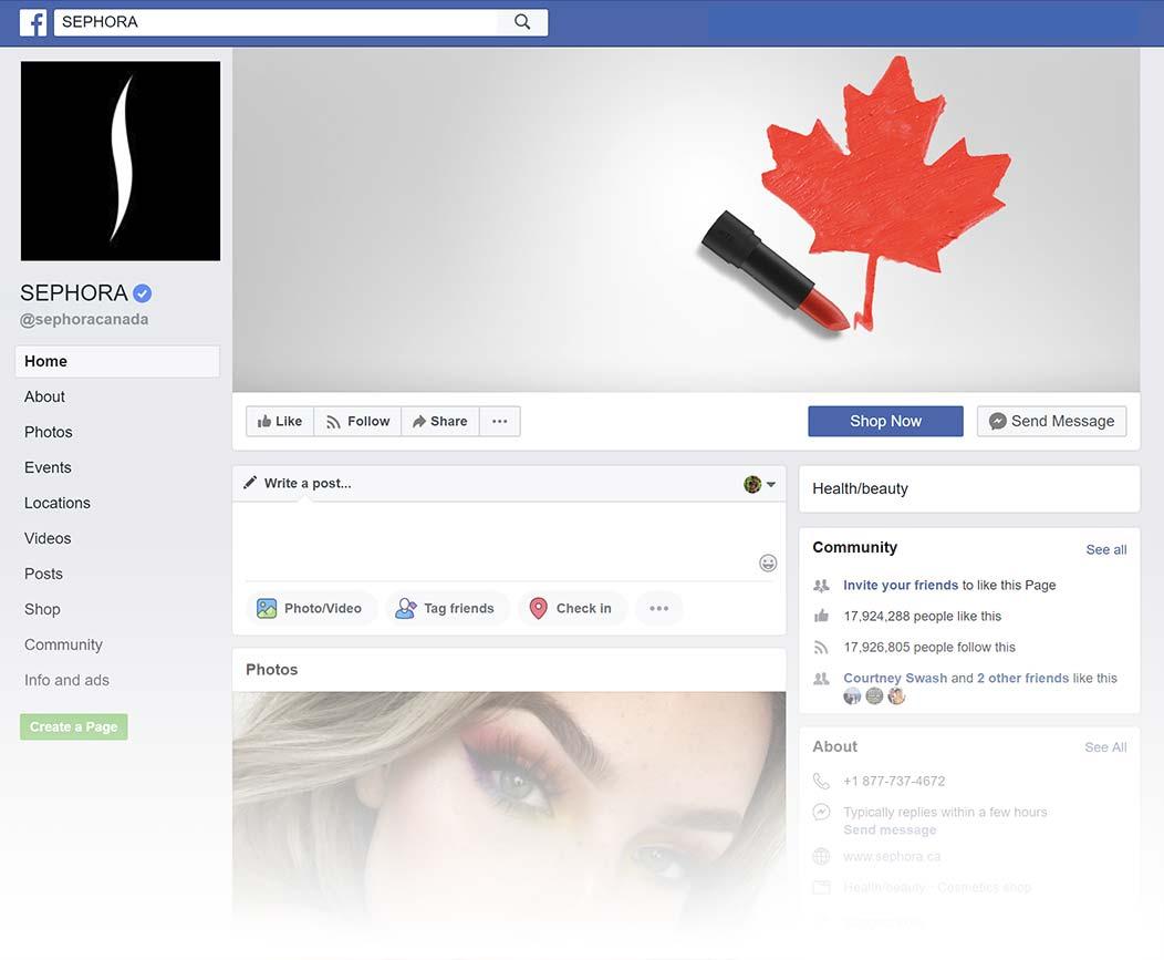 Sephora Canada Facebook Page design, Summer 2018