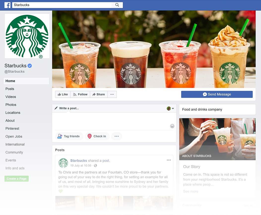 Starbucks Facebook Page design, Summer 2018
