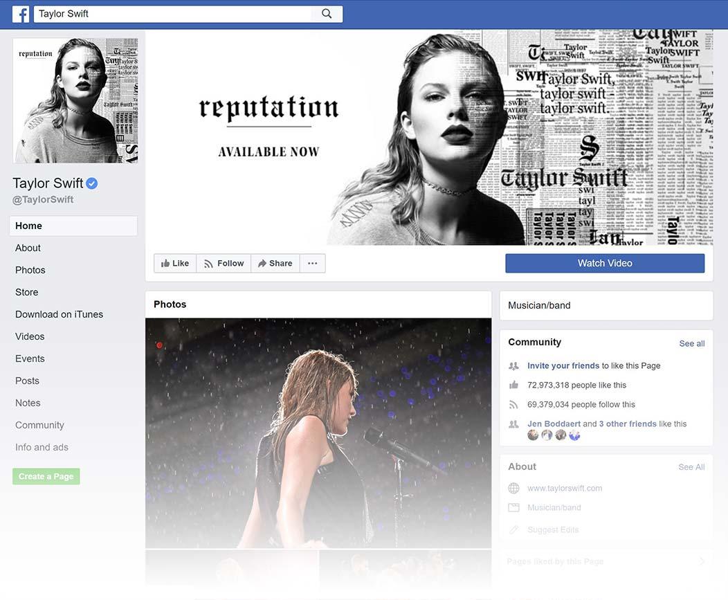 Taylor Swift Facebook Page design, Summer 2018