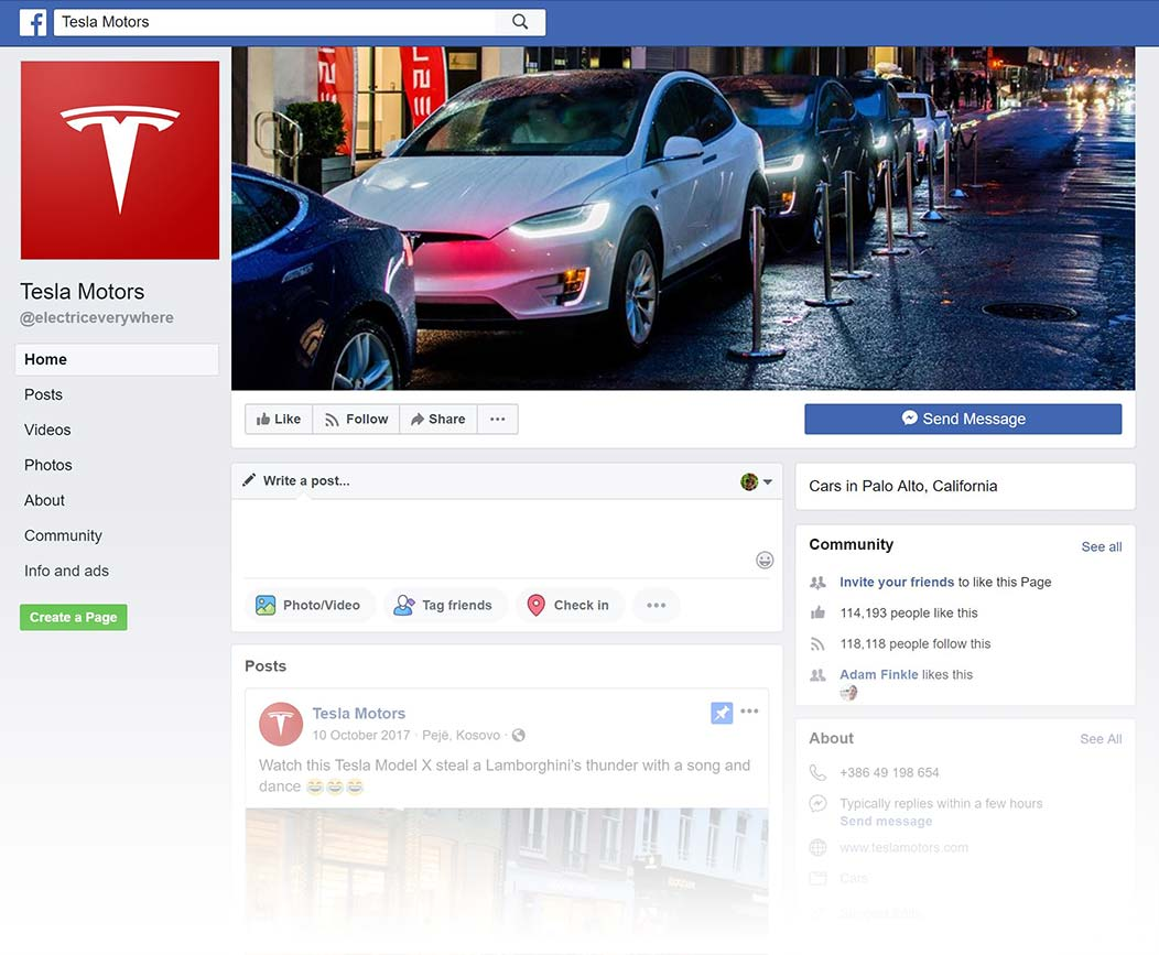 Tesla Facebook Page design, Summer 2018