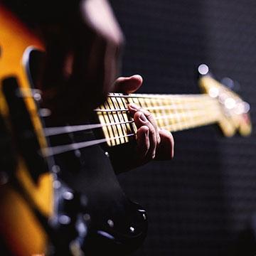 Fender bass close up shot.