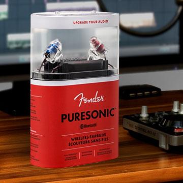 Fender Puresonic Bluetooth Earbuds in recording studio.