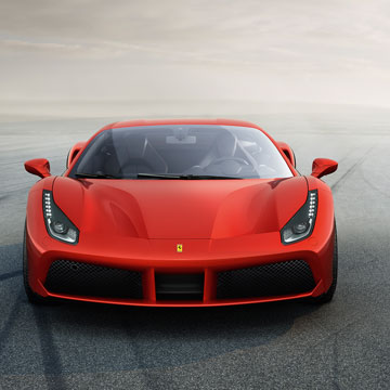 The front of a Ferrari 488 GTB in red.