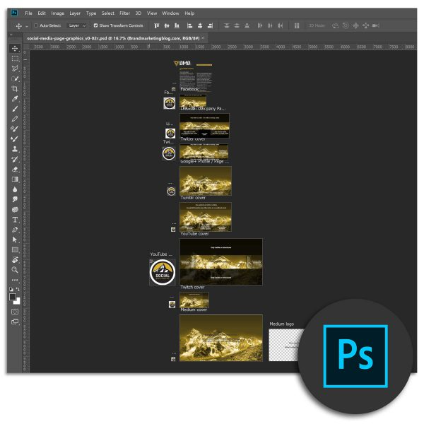 Social media graphics template for Photoshop