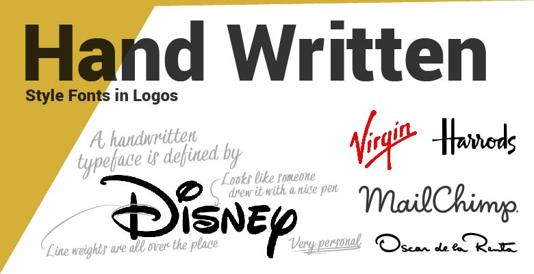 Hand Written type fonts in logos. Disney, Harrods,