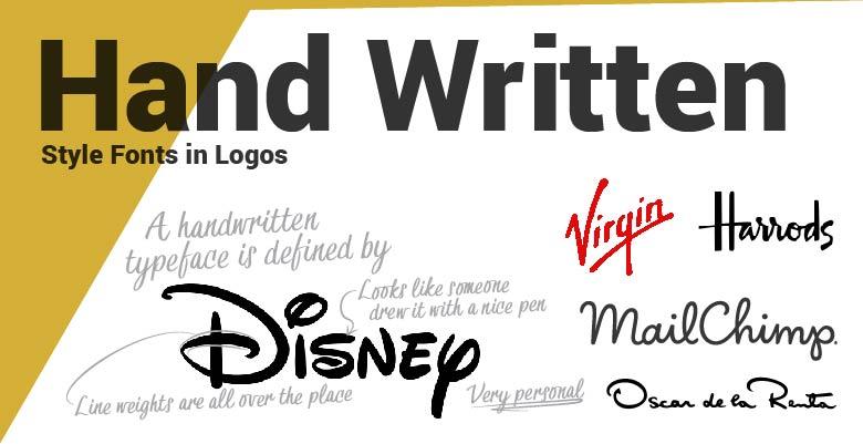 Hand Written type fonts in logos. Disney, Harrods,