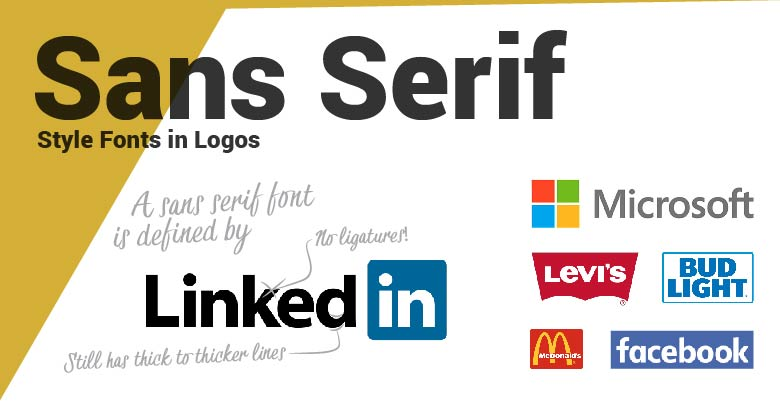 Sans Serif type fonts in logos. LinkedIn, Microsoft, Levis, Bud Light, McDonalds and Facebook.