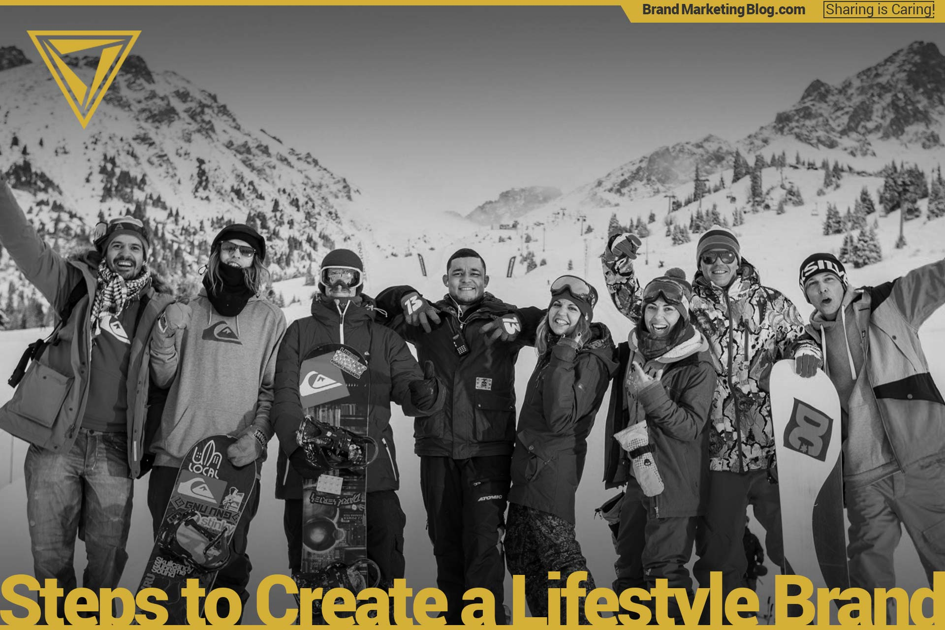 Ski lifestyle. A group of 9 skiiers and boarders posting on a mountain. Quiksilver, DC Shoes