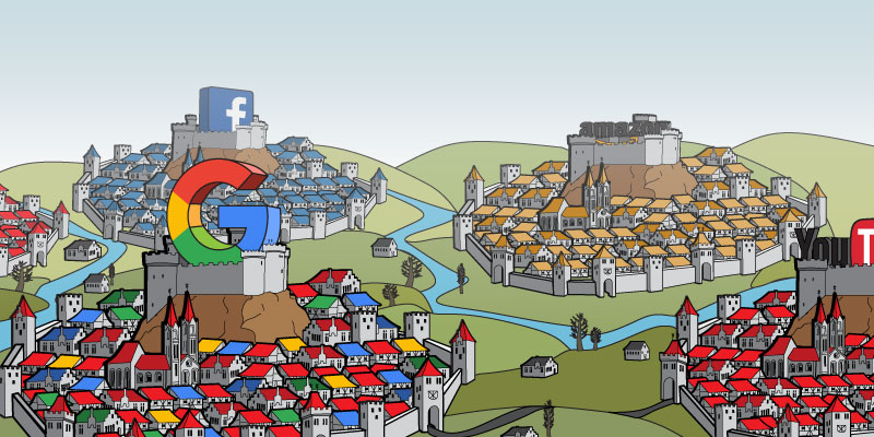 Facebook, Google, Amazon, and You Tube building castle walls around their platforms, and keeping people on the site.