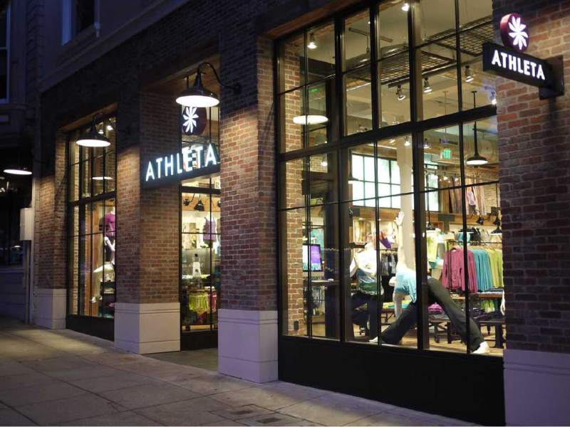 Exterior of the Athleta store in San Francisco at night