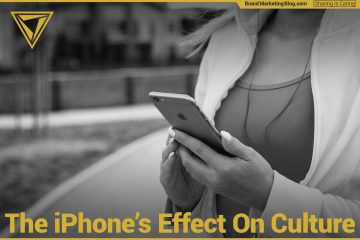 The iPhone's Effect on Culture. Woman running with iPhone in black and white.