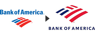 Old Bank of America logo and new Bank of America logo