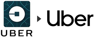 Ubers old logo and Ubers new logo