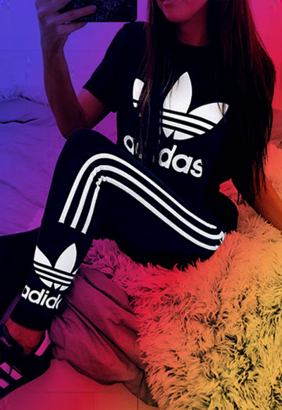 Girl wearing Adidas to show off on Instagram.