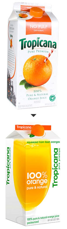 Old Tropicana package design, vs new and hated design.