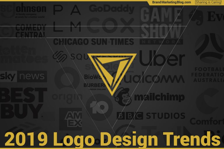 2018 Logo Design Trends. Logos for: Burberry, Uber, Cox, Squarespace, Mailchimp, Channel 10, Qualcomm, Origin, Mailchimp, PALM, Game Show Network, Amex, and more.