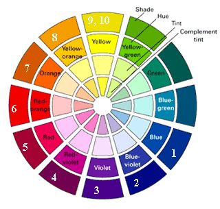 Color wheel with hues, tints and shades.