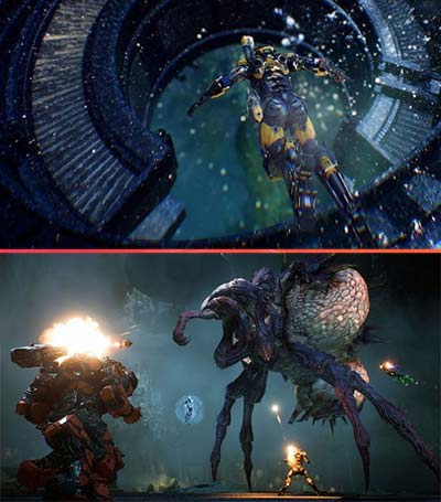 An Anthem player in a Javelin suit going down a level, and a team of players taking down an insectoid alien