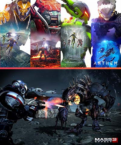 The punchy color palette of Anthem vs the muted color palette of Mass Effect 3