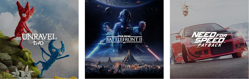 The title treatments of Unravel Two, Star Wars Battlefront II, and Need for Speed Payback.