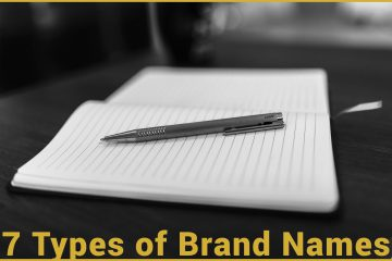 7 types of brand names. A black and white photo of a pen on a notebook in a coffee shop.
