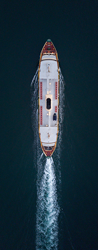 Aerial shot of a shipping vessel.