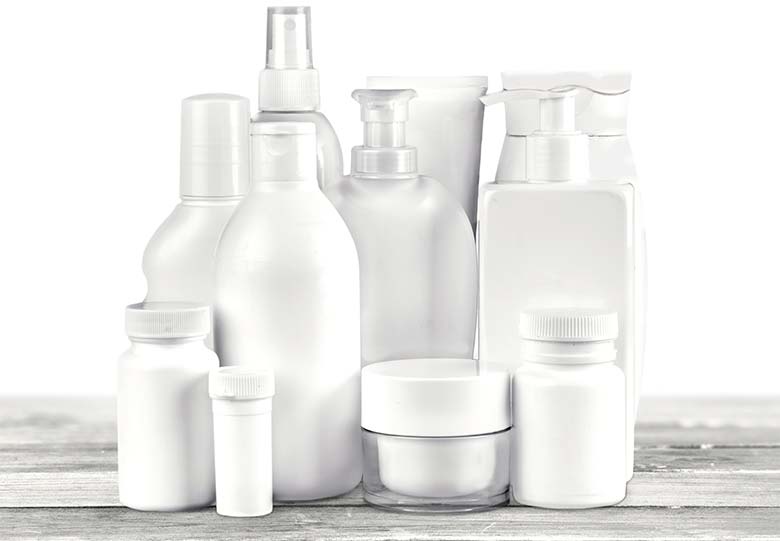 A variety of white label cosmetics bottles.