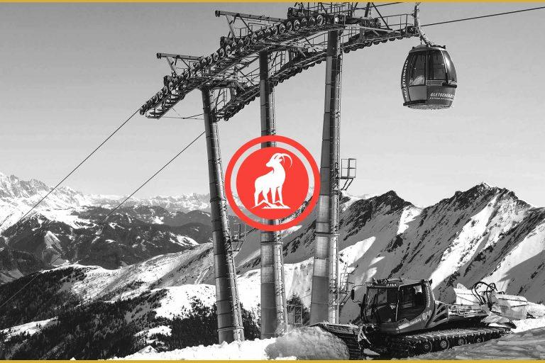 Nordeau ski lifestyle brand logo in front of black and white ski mountains