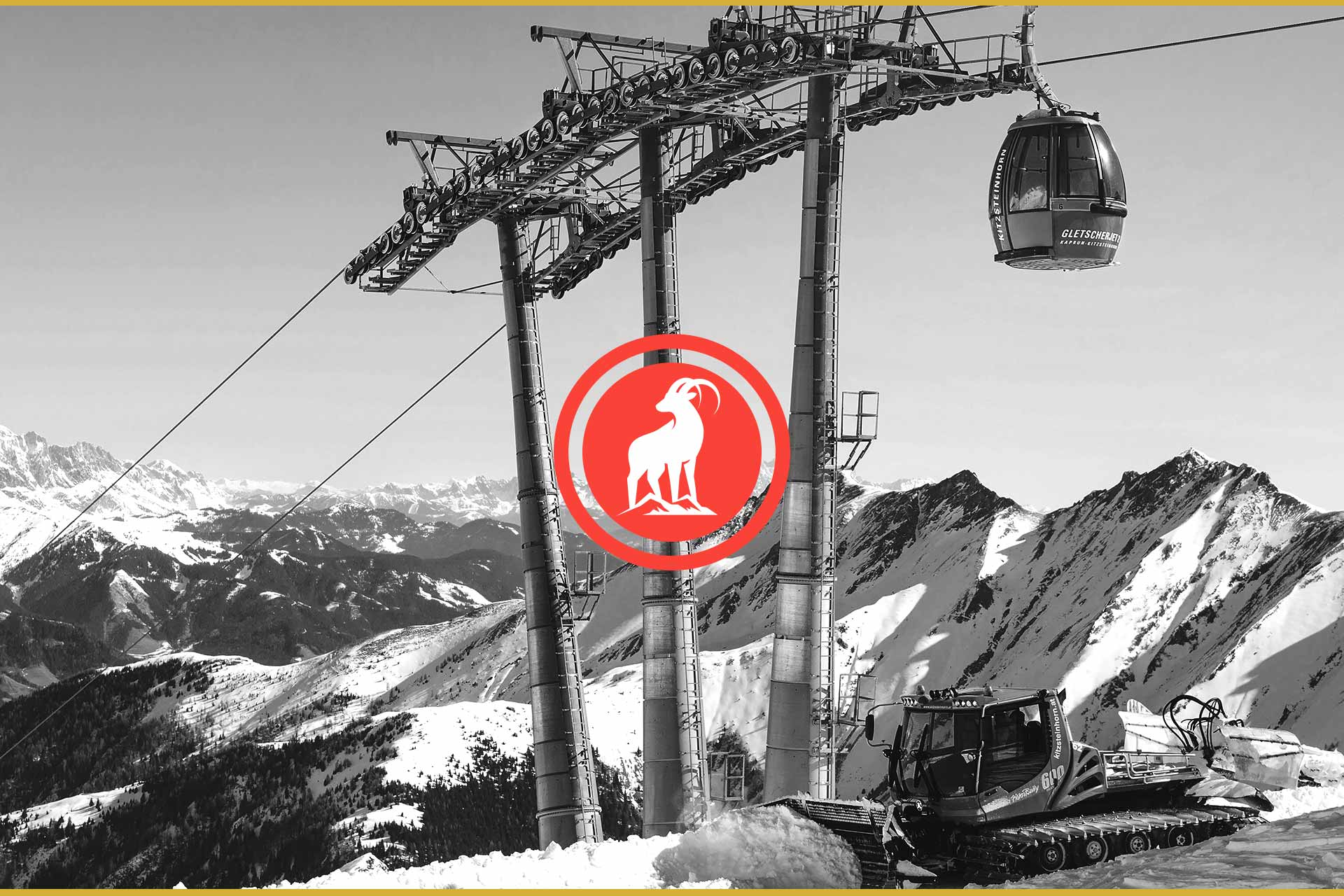Nordeau ski lifestyle brand logo in front of black and white ski mountains