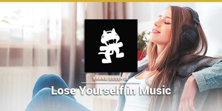 Monstercat's brand essence is losing yourslf in music. Woman listening to EDM on headphones.